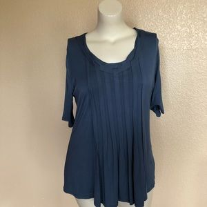 Soft Surroundings Blue Braided Front Top L NWOT